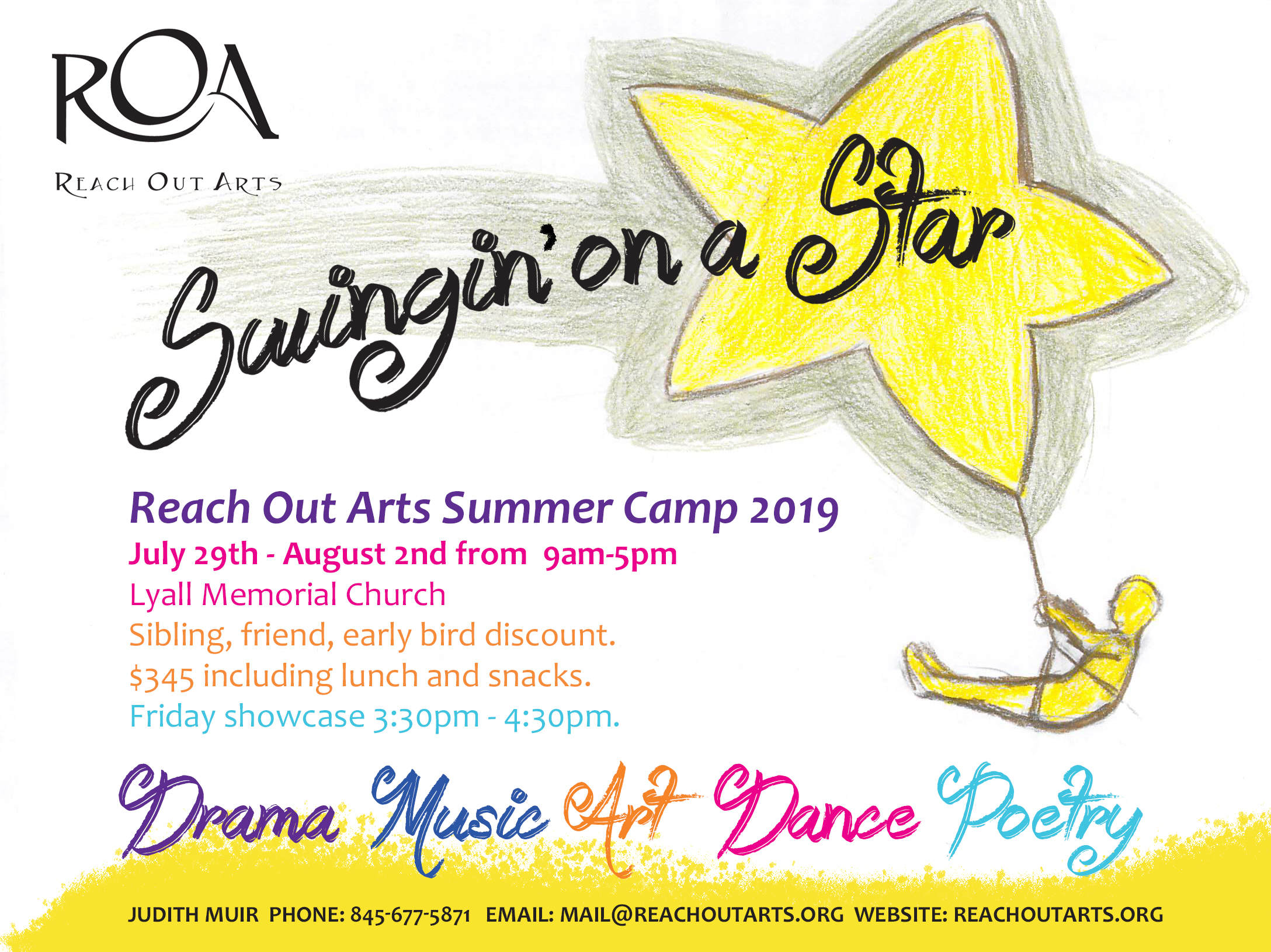 image of Reach Out Arts 2019 Summer Camp Flyer